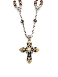 Konstantino Nemesis Mother Of Pearl And Pink Tourmaline Cross Pendant Multi