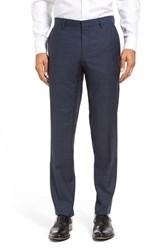 Boss Men's Genesis Flat Front Check Wool Trousers Turquoise Aqua