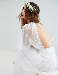 Asos Edition Embroidered Flutter Sleeve Maxi Wedding Dress White