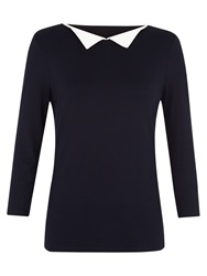 Hobbs Holly Point Collar Top Navy Ivory