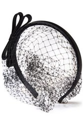 Red Valentino Redvalentino Woman Satin Trimmed Bow Embellished Mesh Veil Black