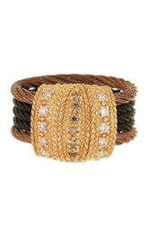 Alor 18K Gold And Stainless Steel Cable Pave Champagnediamond Ring 0.11 Ctw Metallic