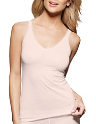 Fine Lines Pure Cotton Thin Strap V Neck Camisole Vanilla Bean