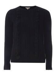 Dorothy Perkins Petite Navy Ruffle Cable Front Jumper Blue