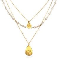 Satya Jewelry Tree Of Life And Lotus Pearl Triple Chain Necklace White