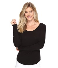 Lilla P Long Sleeve Scoop Neck Black Women's Clothing