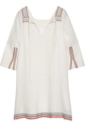 Apiece Apart Tewa Embroidered Cotton Gauze Dress Cream