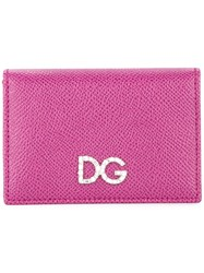 Dolce And Gabbana Logo Plaque Wallet Purple
