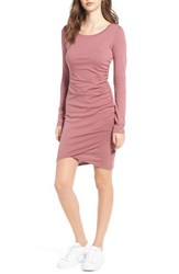 Leith Women's Ruched Long Sleeve Dress Burgundy Rose