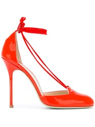 Giannico Tied Cut Out Pumps Women Leather Patent Leather 39 Red