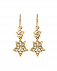 Lydell Nyc Double Star Pave Drop Earrings