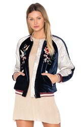 Free People Floral Embroidered Bomber Navy