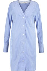Rag And Bone Shults Striped Cotton Poplin Shirt Dress Blue