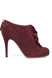 Valentino Ruffled Suede Ankle Boots Burgundy