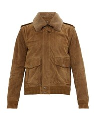 Saint Laurent Shearling Collar Nubuck Flight Jacket Brown