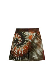 Valentino Tie Dye Cotton Blend Gabardine Shorts Multi