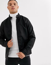 Tom Tailor Faux Leather Biker Jacket In Black