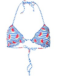 Mc2 Saint Barth Watermelon Print Bikini Top Blue
