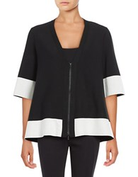 Lafayette 148 New York Colorblock V Neck Cardigan Black Cloud