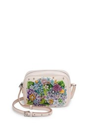 Dolce And Gabbana Crystal Embellished Hydrangea Print Leather Crossbody Bag Multi