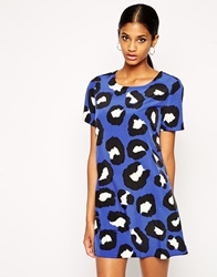 John Zack Shift Dress In Leopard Print