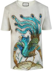 Gucci Peacock Print T Shirt Grey