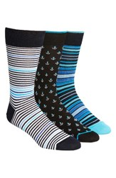 Bugatchi Men's 3 Pack Cotton Blend Socks Blue Navy Anchor Stripe