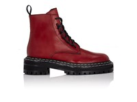 Proenza Schouler Women's Leather Lace Up Ankle Boots Red Burgundy