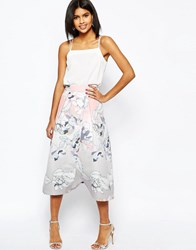 Asos Wrap Prom Midi Skirt In Floral Print Multi