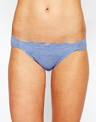 Oysho Cornflower Lace Brief Cornflowerblue