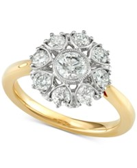 Marchesa Diamond Floral Engagement Ring 1 1 3 Ct. T.W. In 18K Gold Created For Macy's Yellow Gold