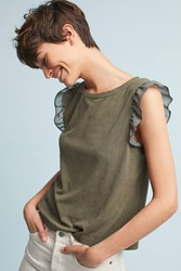 Paper Crown Ribbed Flutter Tee Green