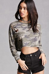 Forever 21 Distressed Camo Print Crop Top Olive