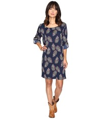 Rock And Roll Cowgirl Long Sleeve Dress D4 9592 Navy Women's Dress