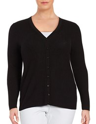 Lord And Taylor Plus Long Sleeve V Neck Ribbed Cardigan Black