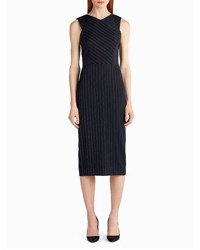 Jason Wu Pinstripe Stretch Crepe Sheath Dress White Black Black White