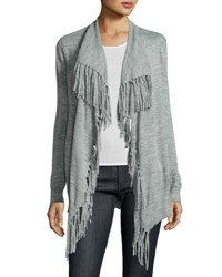 Rebecca Taylor Fringe Trim Open Front Cardigan Grey