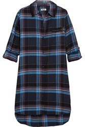 Dkny Plaid Jersey Trimmed Cotton Blend Nightshirt Blue