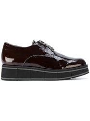 Paloma Barcelo Wedged Oxford Shoes Leather Rubber Brown