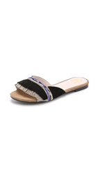 House Of Harlow Mimi Suede Fringe Slides Black