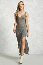 Forever 21 Sheer Maxi Oil Wash Dress Charcoal