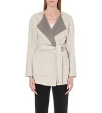 Armani Collezioni Reversible Wool And Cashmere Blend Wrap Coat Taupe