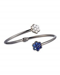 Bayco 18K Black Gold Diamond And Blue Sapphire Floral Bypass Bracelet
