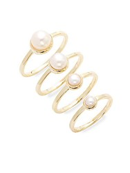 Eddie Borgo Stackable Pearl Ring Set Yellow Gold