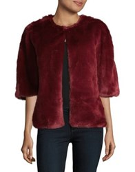 Adrianna Papell Faux Fur Two Way Wrap Jacket Burgundy