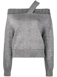 Rta Off Shoulder Jumper Grey