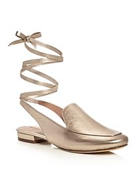 Sigerson Morrison Bena Metallic Ankle Tie Mule Loafers Gold