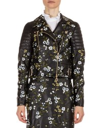 Erdem Frazey Floral Embroidered Leather Biker Jacket Black Multi Black Multi