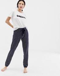 Boux Avenue Dream Ruffle Tee And Stripe Pants Pyjama Set In Navy Multi
