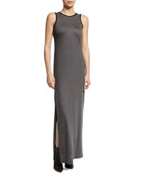Atm Anthony Thomas Melillo Sleeveless Jersey Knit Maxi Dress Gray Black Blk Grey